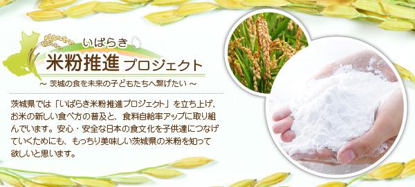 茨城県では「いばらき米粉推進プロジェクトを立ち上げ、お米の新しい食べ方の普及と、食料自給率アップに取り組んでいます。安心・安全な日本の食文化を子ども達につなげていくためにも、もっちり美味しい茨城県の米粉を知ってほしいと思います。」